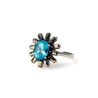 Art Deco Blue Zircon Marcasite Sterling Silver Halo Ring