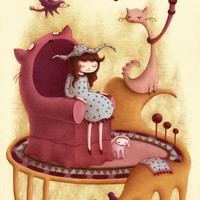 """Isabella (on her Cat Chair)"" - Art Print by Stephanie Kunze"