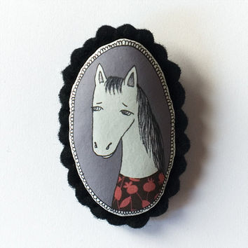 Pony- color handcrafted and illustrated brooch felt