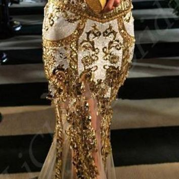 2017 new shiny  out off shoulder party  dress sexy golden  backless  halter neck hanging Trumpet  evening dress