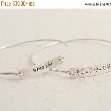 Argentium Sterling Silver Nameplate Bangle- Personalized
