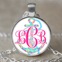 Monogram Anchor Lilly Pulitzer Inspired Necklace