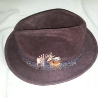 Vintage 50-60s Dark Brown Velour Fedora Hat by Mallory - Torino Quality - Size 7 1/4
