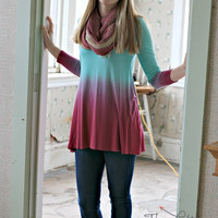 Turquoise to Pink Ombre Dress