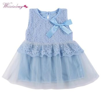 WEIXINBUY Kids Cotton Bow Lace Ball Gown Casual Chiffon Princess Baby Girls Dresses 0-2Y