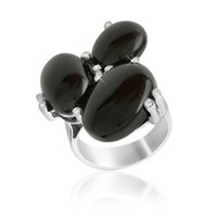 Del Gatto Designer Rings Diamond and Onyx Three-stone 18K Gold Ring