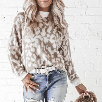 A-List Beige Leopard Print Sweater