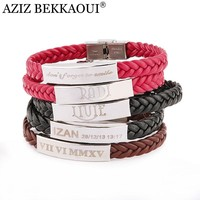 Laser Engrave Name ID Bracelet Personalized Name Bracelet For Men Stainless Steel Soft Leather Braided Rope Bracelet Customize
