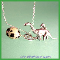 Dinosaur necklace Sterling silver necklace jewelry by RingRingRing