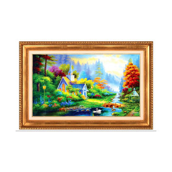 Bedroom Diamond Stitch Full-jewelled Cross Stitch Crystal Round Diamond Oil Painting Mediterranean Landscape Dreamlike Garden Small House