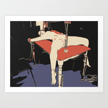 Master, dinner is ready. Sexy bdsm nude, girl in bondage, naked woman tied to table erotic Art Print by Peter Reiss
