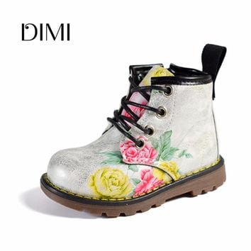 Kids Boots For Girls 2018 Spring Children Shoes Leather Flower Baby Rubber Boots Waterproof Fashion Martin Girls Boots 21-30