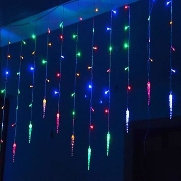 4m*0.7m 100 LED icicle Curtain Lights Christmas Led Icicle String Fairy Lights For Home Party Wedding Decoration