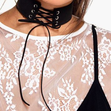 Katherine Suedette Tie Front Thick Choker