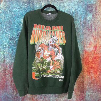 90s Miami Hurricanes Graphic Sweatshirt Vintage Florida Football Crewneck University Team Jumper XL Retro Athletic Sports Hip Hop Streetwear