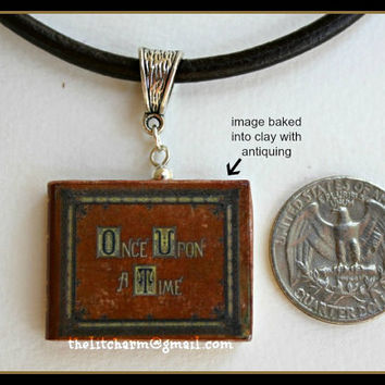 Once Upon A Time OUAT Fairy Tales Mini Book Pendant Necklace Key Chain from Durable Clay