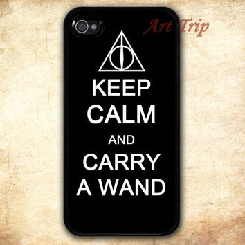 iPhone 4 Case, iphone 4s case -- keep calm and carry a wand, deathly hallow iPhone 4 Case, harry potter iphone 4 case, iphone case