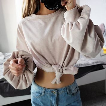 Women's Fashion Winter Long Sleeve Lights Sexy Crop Top Butterfly Tops T-shirts [206228783130]