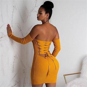 Yellow Knitted Long Sleeve Open Back Lace Up Christmas Mini Bandage Club Party Dress