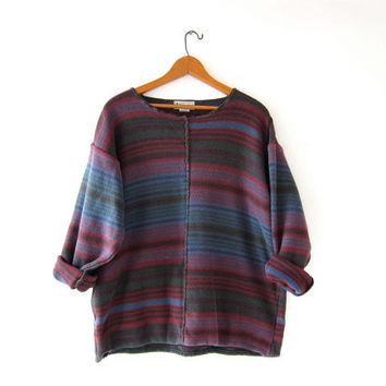 vintage striped sweater. slouchy cotton knit sweater. boxy sweater. Southwestern Boho.