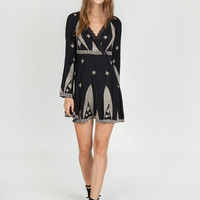 Apparel- Ellen Embroidered Surplice Dress