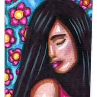 latin girl flowers people original aceo art drawing mini portrait art pink blue