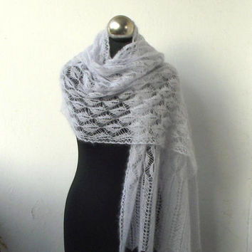 hand knitted kid silk  lace stole,Pearl Grey  knitted lace shawl, bridal cover up