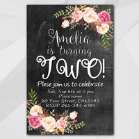 2nd Birthday invitation, Watercolor Chalkboard Invitation, 13th 18th 21st 30th 40th 50th, etsy Birthday Party invitation XA020c