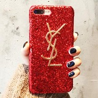 YSL Fashion Luxury Supreme Sliver Mirror Case For iPhone 7 7Plus 6 6s 6Plus 6s Plus F