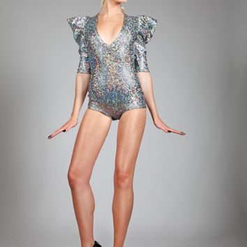 Signature Romper in Silver Hologram, Disco Bodysuit, Pop Star Stage Leotard, Sexy Sci Fi Superhero, Holographic Seapunk Body, by LENA QUIST