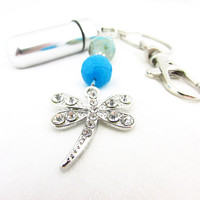 Dragonfly Pill Case Keychain, Aqua Crackle Bead Pill Case, Waterproof Pill Case, Rhinestone Dragonfly Holder