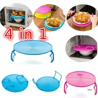 Creative Microwave Oven Shelf Double Insulated Heating Tray Rack Bowls Layered Holder Organizer Tool Kitchen Accessories