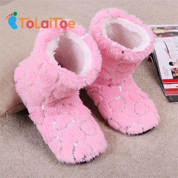 ToLaiToe candy Sequins Love Coral velvet Indoor Floor Slippers Women Home Shoes Sequin Heart Home Soft Sole Warm House Slippers