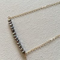 Silver faceted glass bead bar gold necklace / bridesmaid necklace / dainty necklace / minimalist necklace