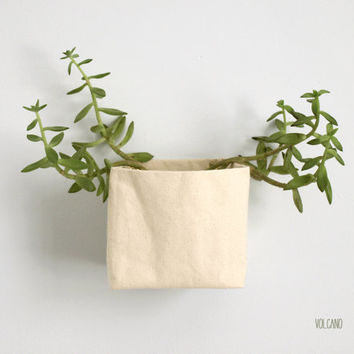 Square canvas wall basket, planter, decoration... with eyelets - Volcano Store