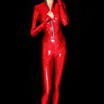 The Raddest Reddest Holographic Bodysuit You'll Ever See