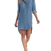 Denim Chambray Shirt Dress by Charlotte Russe