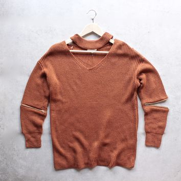 material girl choker sweater - camel