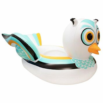 Swimming Pool, Lake, Giant Rideable Owl, Inflatable Float, White