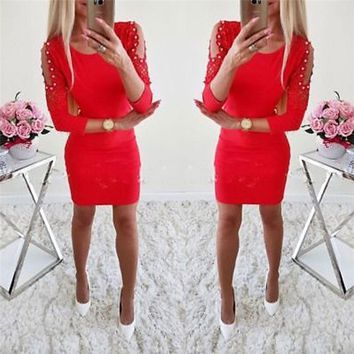 Red Open Shoulder Lace Pearl Mini Christmas Dress