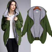 New Autumn Winter Plus Size Bomber Jacket Women Basic Coats Army Green / Black Color Casual Hooded Daily Outwear