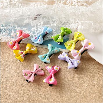 Fashion Bow Hair Accessories Candy Color Mini Sweet Solid Dot Floral Hair Clips Kids Hairpins Women Girls Headwear Butterfly