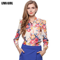 Women Chiffon Sexy Floral Printed Slim Long Sleeve Erotic Shirt Blouse _ 10637