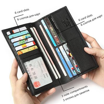 Genuine Leather Wallet Male Slim Men's Luxury Long Clutch Black Card Slot Money Bag Male Purse