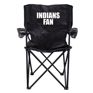 Indians Fan Black Folding Camping Chair with Carry Bag