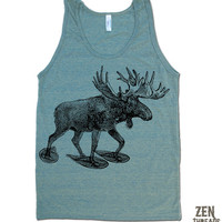 Unisex MOOSE (in Snow Shoes) Tri Blend Tank Top american apparel XS S M L XL (4 Color Options)