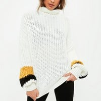 Missguided - White Stripe Sleeve Chunky Sweater