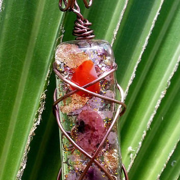 Wire Wrapped Rectangular Orgonite Pendant