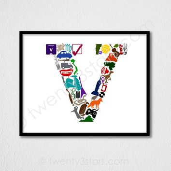 Letter V Monogram Wall Art - Choose Any Colors - twenty3stars