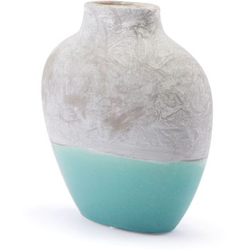 Gray & Teal Azte Vase, Small